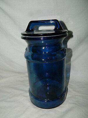 vintage Cobalt Blue Canister Apothecary candy Milk Can Jar