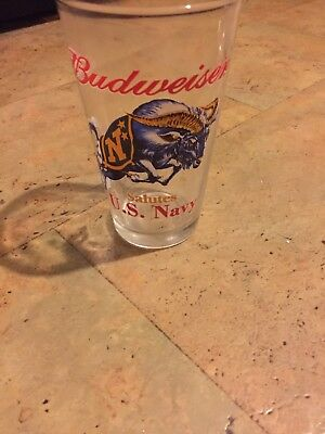 Budweiser Salutes US Navy Glassware Drinking Glass Cup