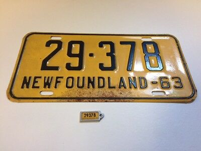 1963 Newfoundland Licence Plate With Matching Key Tag 29-378