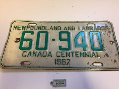 1967 Newfoundland Licence Plate Centennial With Matching Key Tag 60-940