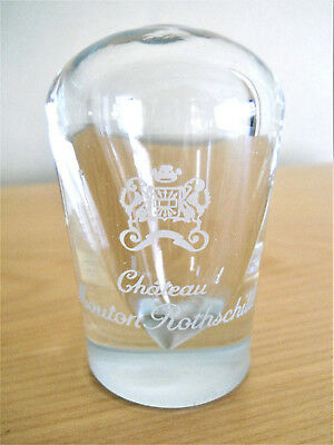 Original Vintage Chateau Mouton Rothschild Wine Etched Glass Crystal Paperweight