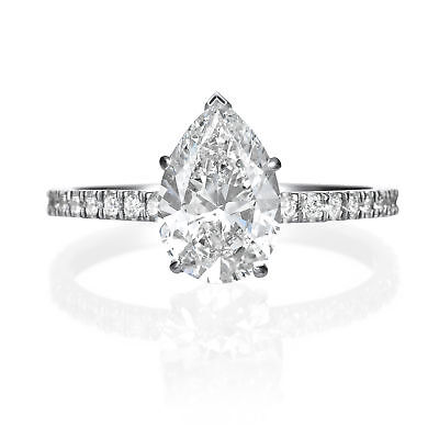 GIA Certified 2.15 ct Pear Shaped H SI2 Diamond Engagement Ring 18K White Gold