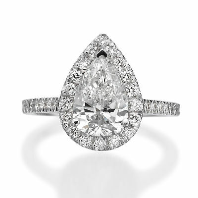 GIA Certified 2.03 ct Pear Shaped E SI1 Diamond Engagement Ring 18K White Gold