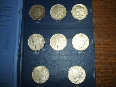 Complete 24 Coin USA Silver Peace Dollar Set 1921 to 1935 All Keys NR!