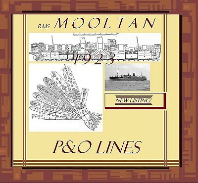 RMS MOOLTAN 1923 P&O: Complete Retractable Deck Plans and Profile / NEW LISTING!