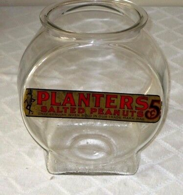 "Vintage Planters-Mr Peanut 5 Cent Nut-Candy Store Display Jar-11""- Sign-Decal"