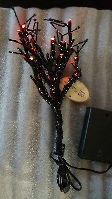 Black Glitter Led Lighted Spooky Tree Halloween Village 9""