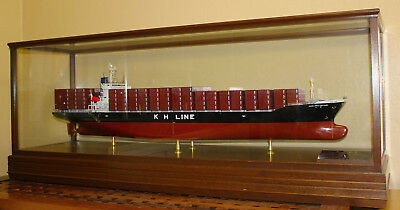 Large Boardroom Builders Ship Model Cargo Container Museum Cased Ship model