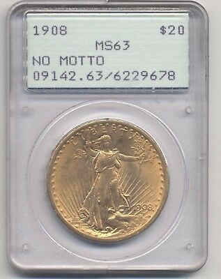 1908 No Motto G$20 MS-63 PCGS Gold Saint-Gaudens Double Eagle OGH Rattler Holder