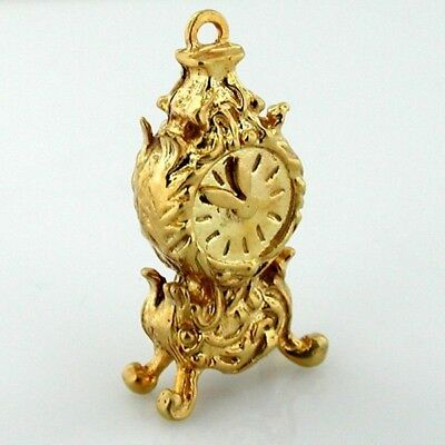 9k Gold Antique Clock with Movable Hands 9ct Vintage Charm