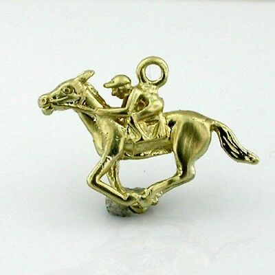14K Gold Race Horse Racing Jockey 3D Charm