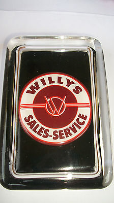 Willys Jeep Sales Service Older  Round Logo Advertising Sign Glass Paperweight /