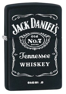 Zippo Windproof Black Matte Lighter With White Jack Daniels Logo, 62023, NIB