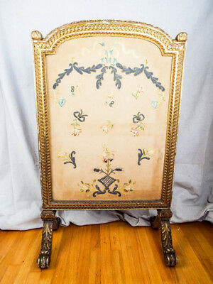 Antique Original French Louis XVI Gilt Wood Floral Embroidery Silk Fire Screen