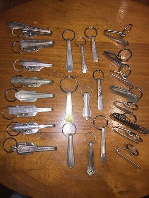 25 Vintage Silverplate Keychain Key ring Antique Silverware Handle Wholesale Lot