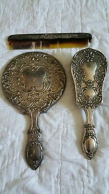 Antique Silver Plated Dressing Vanity Set Mirror Brush Comb Floral