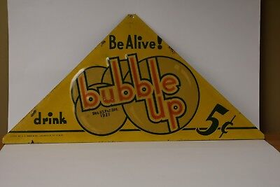 Original Bubble Up Soda Drink Advertising Sign metal embossed tin Be Alive! 5c