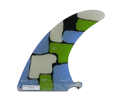 """9"""" RAINBOW AZUL Longboard Fin, Stained Glass, Unique Fin, 1 of a Kind, *NEW*"""