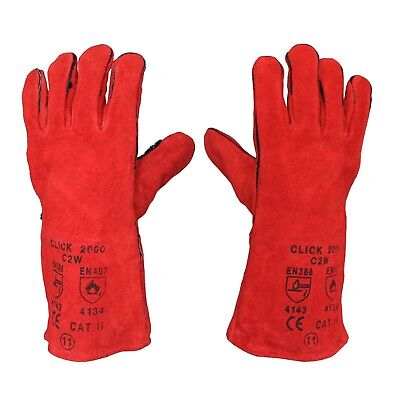 1 x Welding Gloves Long Leather Gaunlets Heat Resistant Lined MIG ARC Wel... NEW