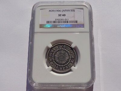 M39 (1906) Japan Silver 50 Sen Ngc Xf-40 No Reserve! Super Nice! Must See!!