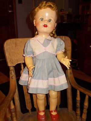 "Vintage 1950's Ideal Saucy Walker Doll with Flirty Eyes, 22""s,  Original Dress"