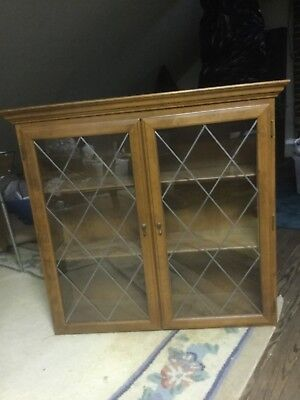 Ethan Allen cabinet for collectibles, glass doors, hang or table top