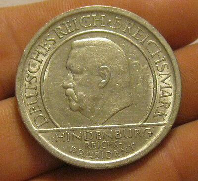 Germany - 1929-A Large Silver 5 Reichsmark