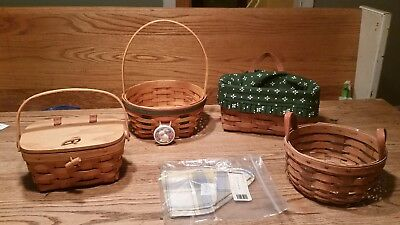 Longaberger Basket Lot of 4 small to medium 2 liners signed