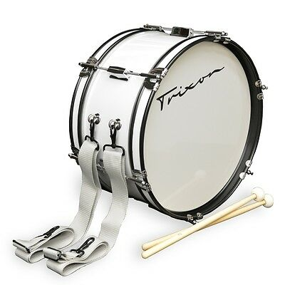 """Trixon Junior Marching Bass Drum 16 by 7"""" White"""