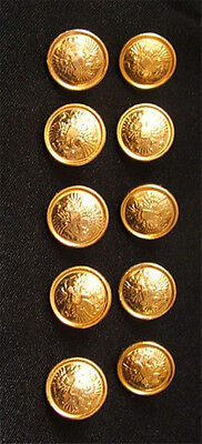 10 Small Russian Official Uniform Button Imperial Double-Headed Eagle Golden Rim