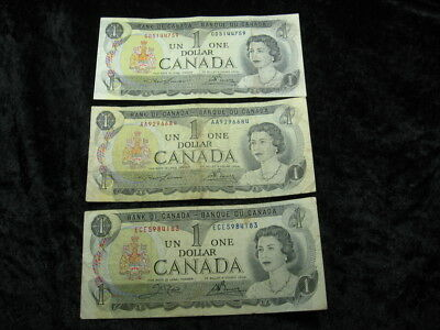 3 old world foreign currency note lot CANADA $1 dollar P85 1973 Queen Elizabeth