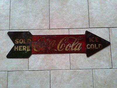 Rare 1927 Ice Cold Coca Cola Sold Here Double Sided Tin Arrow Soda Hanger Sign