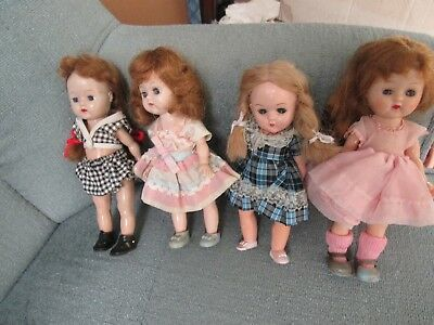 "Lot of 4 Vintage Unmarked 8"" Ginny-type Dolls -Pink Dress is Marked Cosmopolitan"