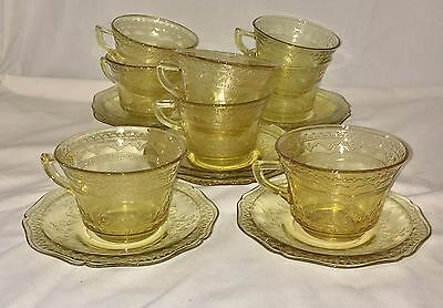 8 Federal PATRICIAN AMBER *CUPS & SAUCERS*