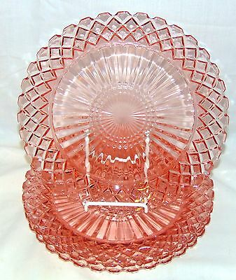 """4 Hocking WATERFORD/WAFFLE PINK *9 5/8"""" DINNER PLATES*"""