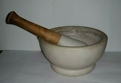 Antique Very Large Mortar & Pestle Bowl - Ceramic Mortar - Drug Store Pharmacy