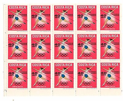 Costa Rica 1968 Mexico Olympic Games sports 40cts without HORIZONTAL perforation