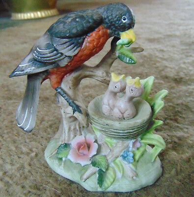 Vintage Signed Royal Crown ROBIN Feeding Babies Bisque Porcelain Bird Figurine