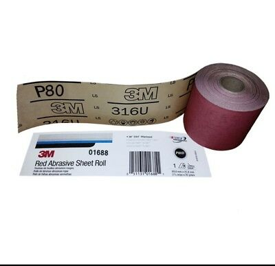 """free shipping (1 RL) 3M 01688 2-3/4""""X25YD 80 GRT RED STICK TO LONGBOARD OR BLOCK"""
