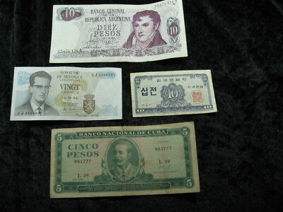 4 old world foreign currency note lot ASSORTED nations FREE SHIPPING #2