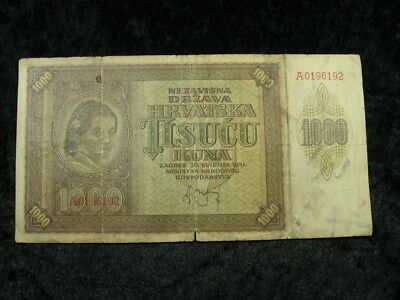1 old world foreign currency note lot CROATIA 1000 Kuna P4 1941 FREE SHIPPING