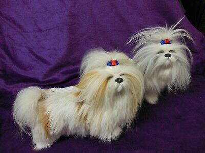 "( 2 )   Faux Fur  ""Shih tzu"" Dog Firgures."