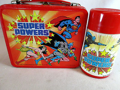 Vintage 1983 DC Comics Super Powers metal lunch box & thermos by Aladdin