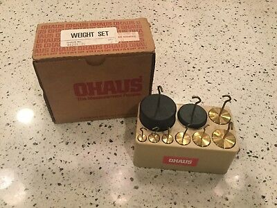 Set Of 9 Ohaus Balancing Scale Brass Calibration Apothecary Weights + case
