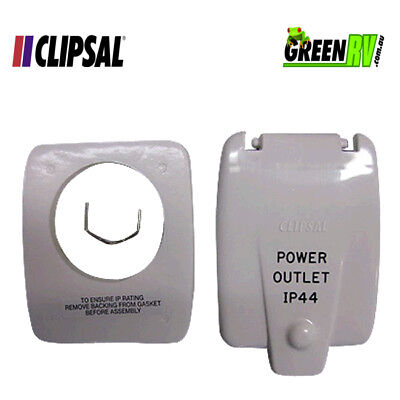 Clipsal Old Style IP44 Caravan RV 10AMP Power Outlet Flap Cover