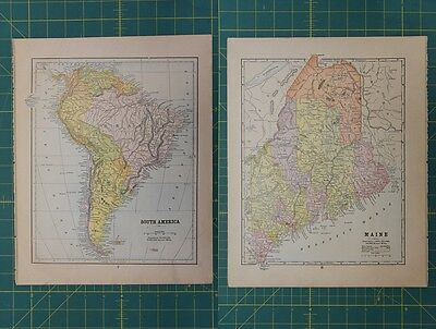 South America Maine Vintage Original Antique 1892 World Atlas Map Lot