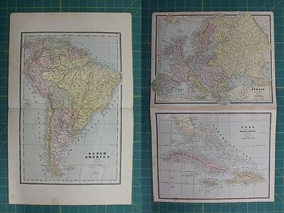 South America Europe Cuba Vintage Original 1886 Cram's World Atlas Map Lot