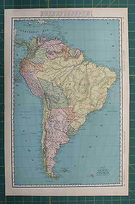 South America Vintage Original 1896 Rand McNally World Atlas Map Lot
