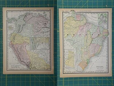 NW South America Brazil Vintage Original 1894 Rand McNally World Atlas Map Lot
