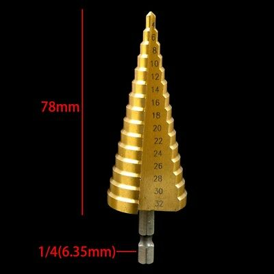Large HSS Steel Step Cone Drill Titanium Bit Set Hole Cutter 3-13or 4-20/32mm